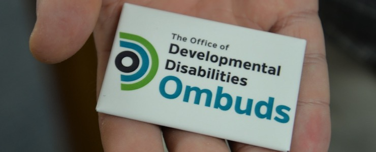 hand holding an Office of Developmental Disabilities Ombuds magnet