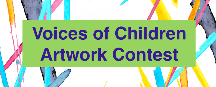Voices of Children Artwork Contest, splashes of color with green text box.