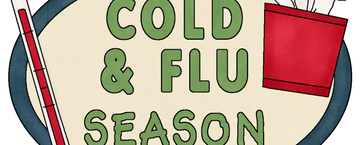 Cropped sign that reads Cold and Flu Season. Thermometer and cold medicine graphics.
