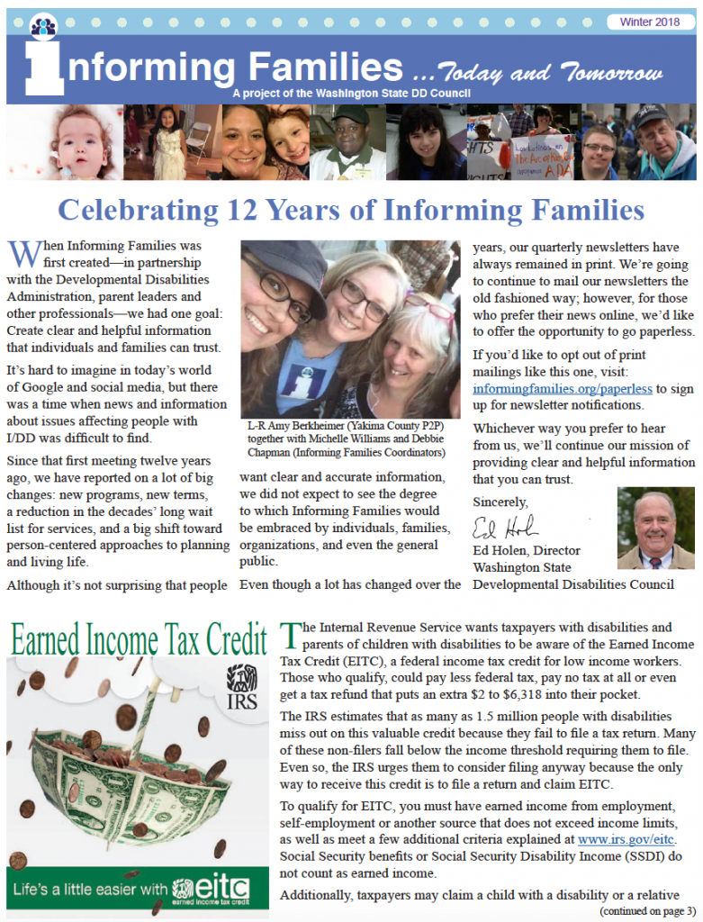 front page of the winter 2018 newsletter