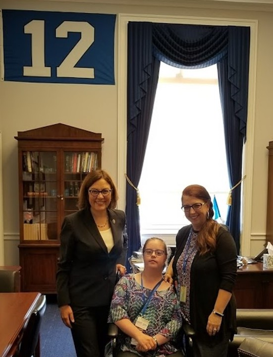 Jessica and her mother Joy pose with Congresswoman DelBene in Washington DC office.