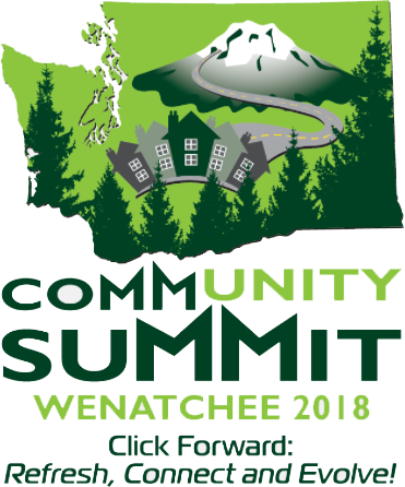 map of washington with trees, mountain and buildings. Text reads: Community Summit Wenatchee 2018. Click Forward. Refresh, Connect and Evolve!
