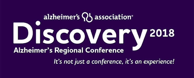 Alzheimer's Association Discovery 2018 Regional Conference. Purple background with white lettering.