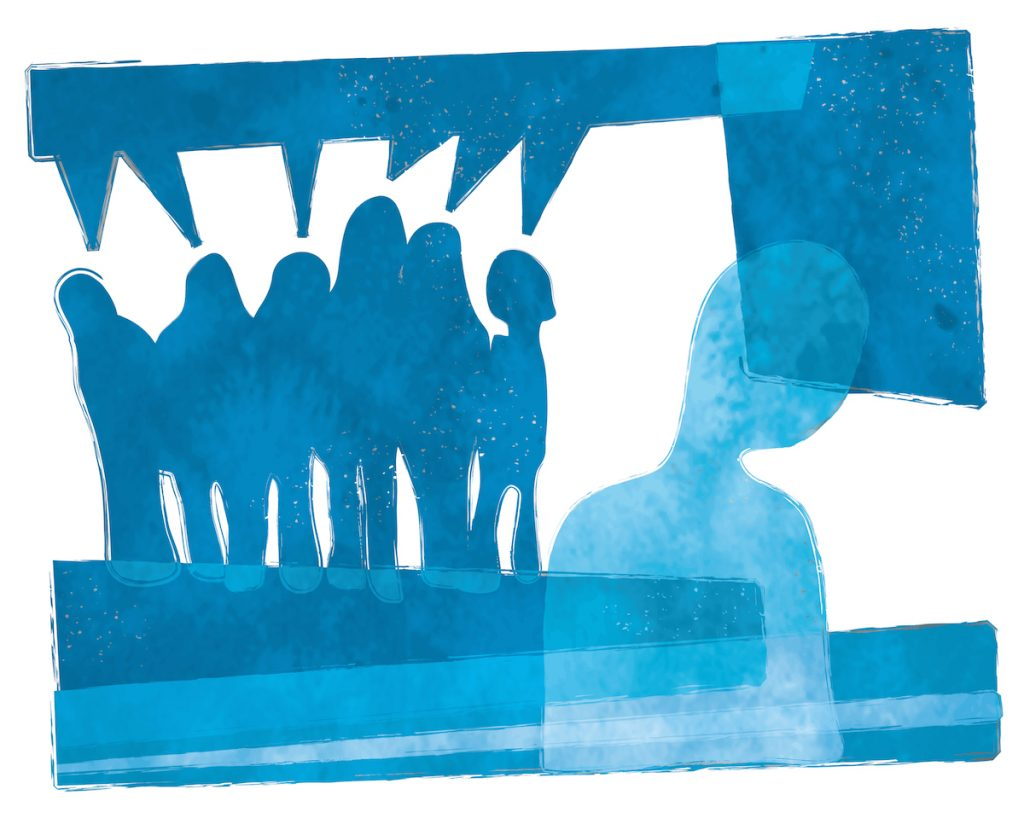 cut outs of a crowd in background. Foreground cutout of a single person. All cutouts in shades of blue.