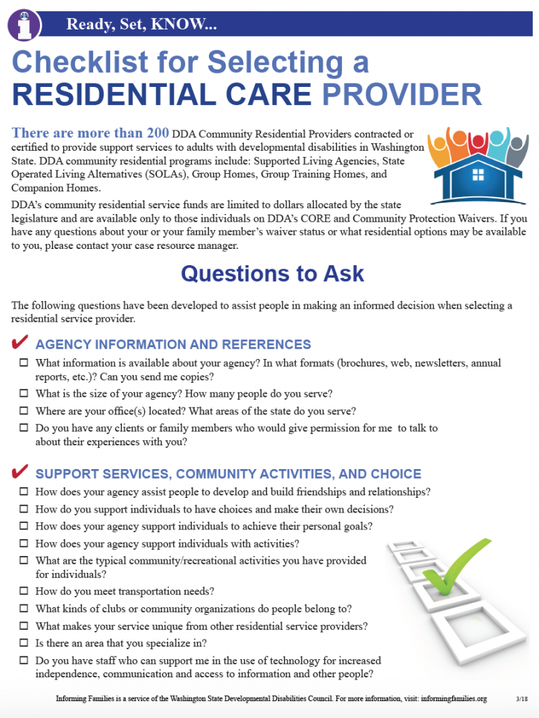 Checklist for Selecting a Residential Provider PDF Document