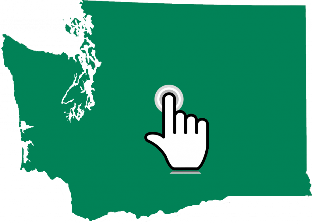 Green map of Washington State with graphic of a finger locator in the center of the map.