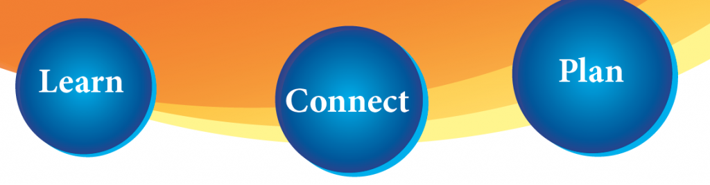 orange, gold and yellow swoosh graphic behind blue orbs with the words Learn Connect Plan,