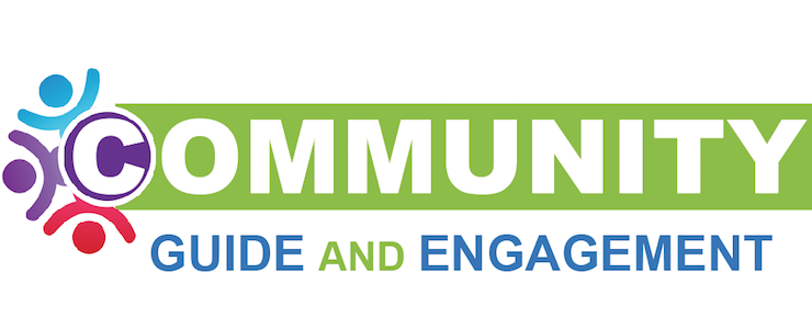 Community Guide and Engagement banner with green background, and multi-colored stick figures circling around the C in Community.