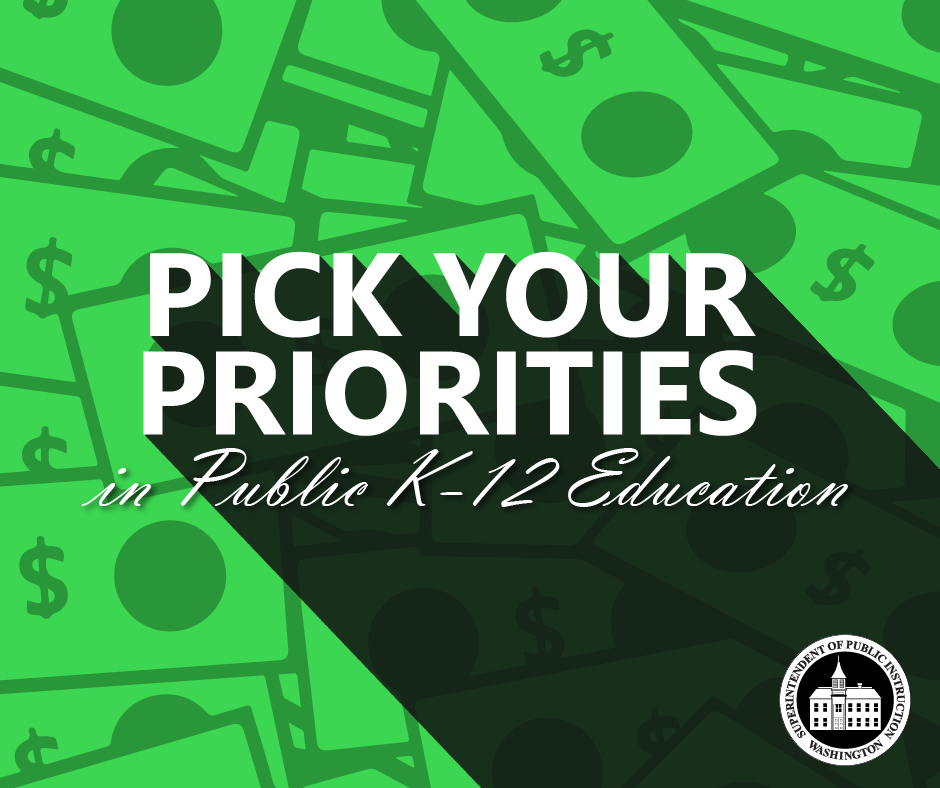 Pick Your Priorities in Public K-12 Education. Dollar bill graphics in background.