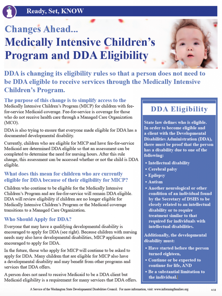 Thumbnail image of the printable version of this article on changes to the Medically Intensive Children's Program and DDA Eligibility