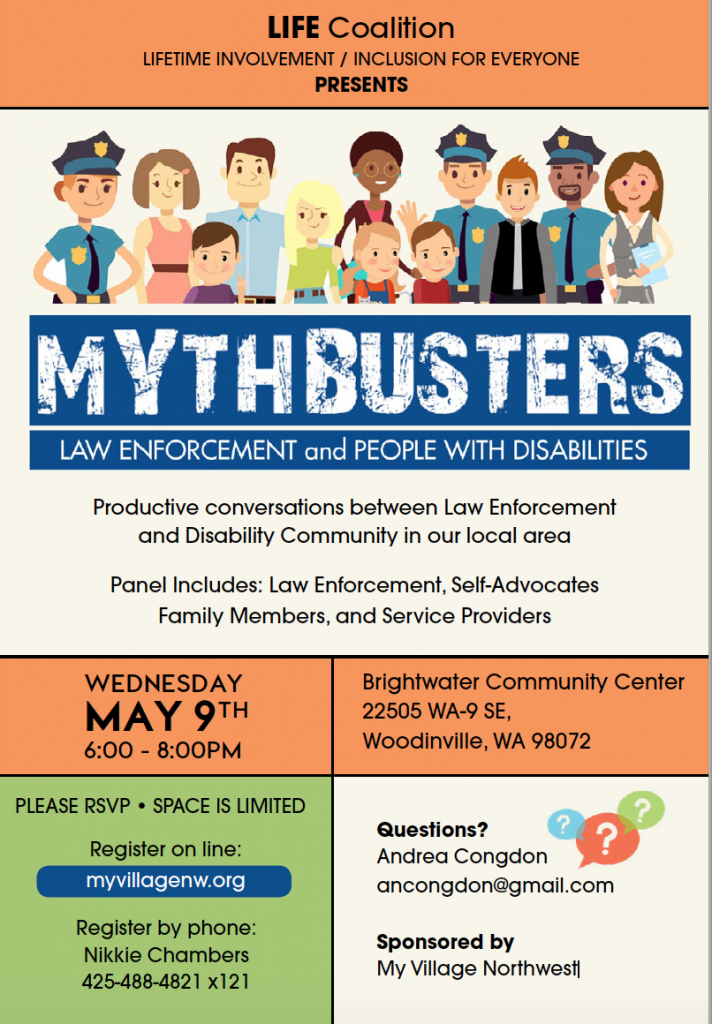 Image of Mythbusters flyer with date, location and registration information for the event.