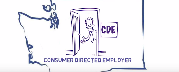 Blue outline of Washington State with a cartoon graphic of a man standing inside and open door, holding out his arm in welcome. The sign outside the door says CDE. Below the image, the title reads: Consumer Directed Employer.
