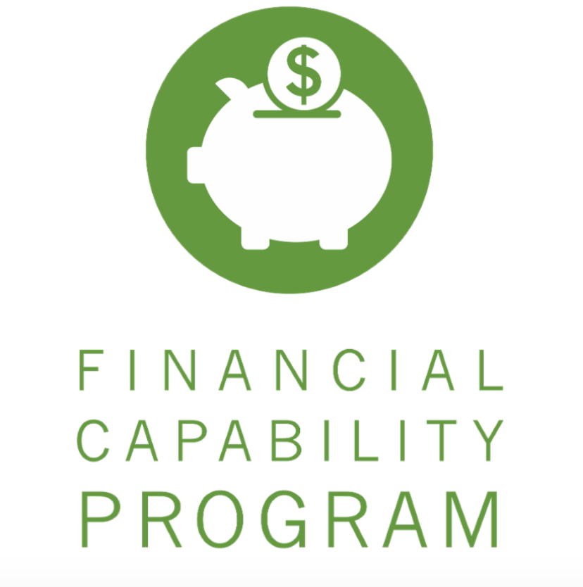 White piggy bank icon with a dollar coin being inserted, set against green background. Text below the icon reads Financial Capability Program.
