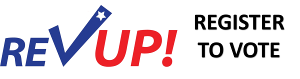 Rev Up! register to vote logo in red, blue and black. The V in vote is a blue check mark with a white star at the top end.