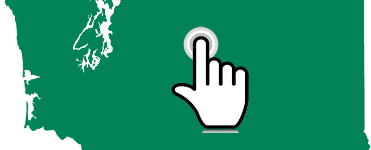 Cropped green map of Washington State with graphic of a finger locator in the center of the map.