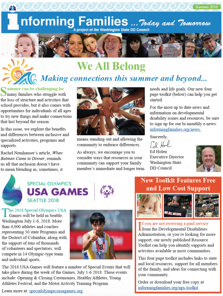 Front page of the summer 2018 newsletter with Informing Familes banner, introduction by Ed Holen, promotion of Special Olympics Summer USA Games, Link to Free Resource Toolkit.