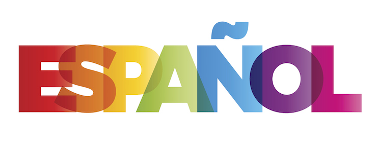 The word Espanol in colored rainbow.