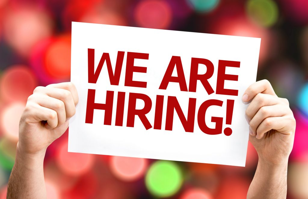 We are Hiring card with colorful background.