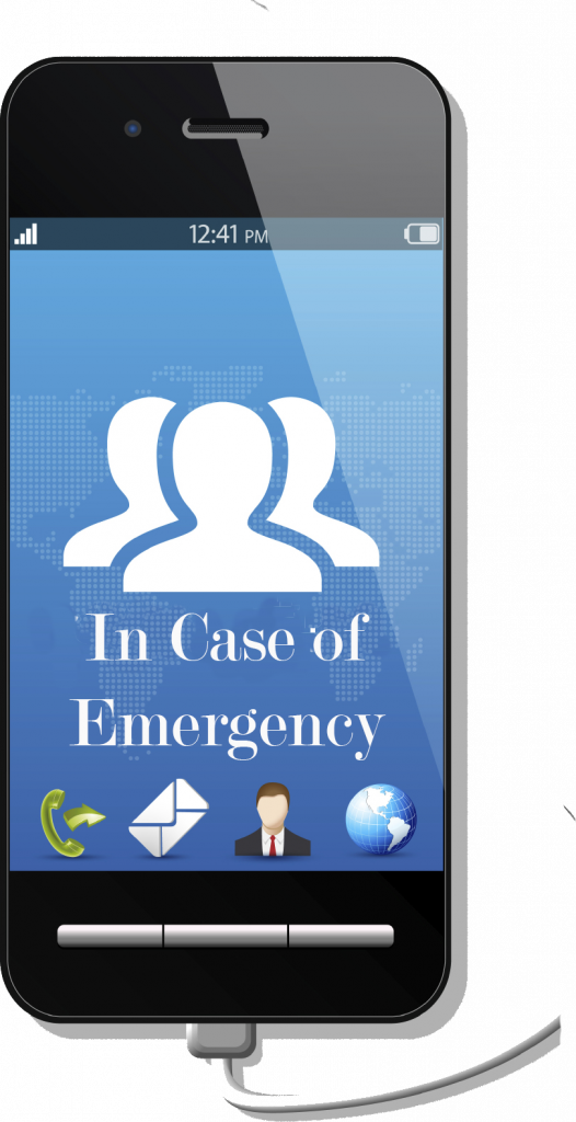 smart phone screen with communication icons and text In Case of Emergency