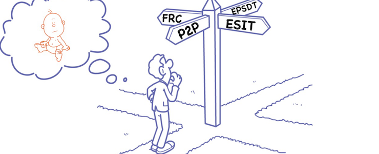 Cartoon of a man standing at a crossroads. Sign headings read ESIT, P2P, EPSDT, FRC. Thought bubble in upper left portion of the image with a baby inside.