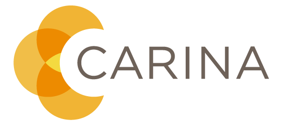 Carina logo, intersecting half circles in shades of orange and yellow.