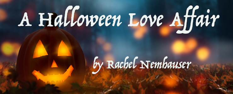 Jack o'lantern in the halloween night. Title reads: A Halloween Love Affair by Rachel Nemhauser.