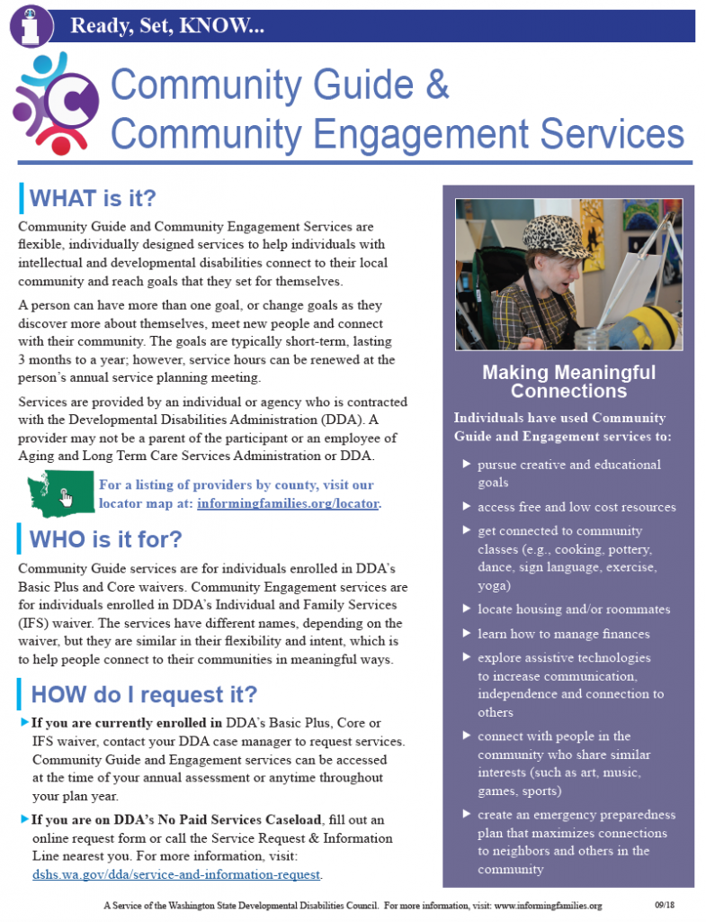 Image of printable bulletin with information about Community Guide and Engagement services.