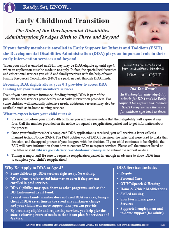 Thumbnail image of a one page bulletin on the role of DDA for ages birth to three and beyond.