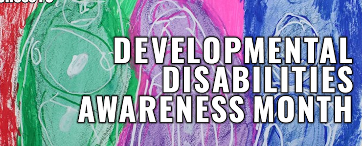 Abstract artwork background with Developmental Disabilities Awareness Month