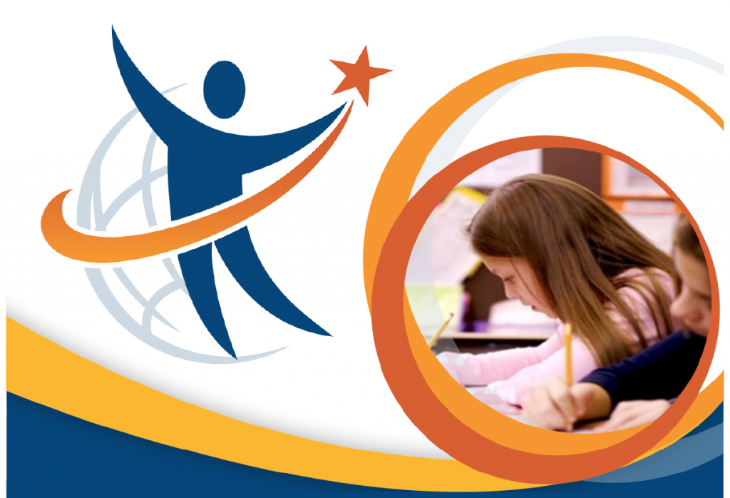 Swoopy stick figure in blue with arcing orange star and circles looping around the photo of a school girl.