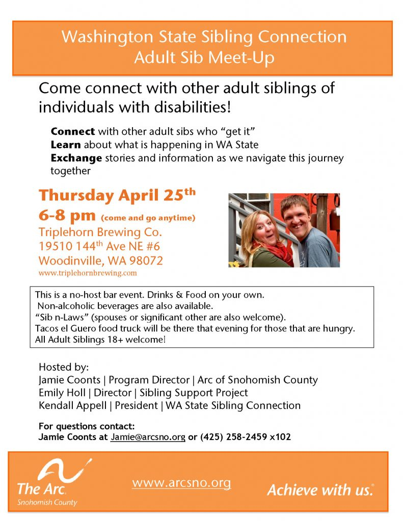 Thumbnail image of a flyer announcing the Adult Sibling Meet Up on April 25th from 6-8 pm at Triplhorn Brewing Company, Woodinville, WA