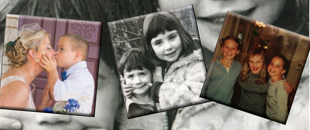 3 snapshots of siblings as children, teens and adult.