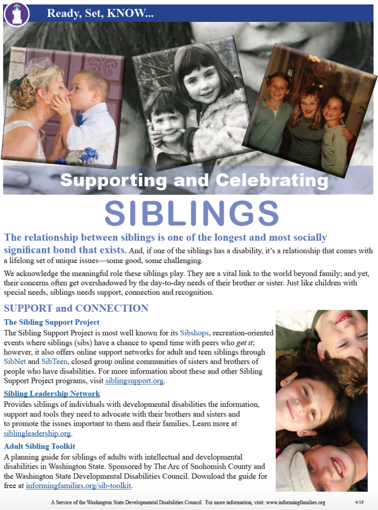 Thumbnail image of the one page bulletin on supporting and celebrating siblings.