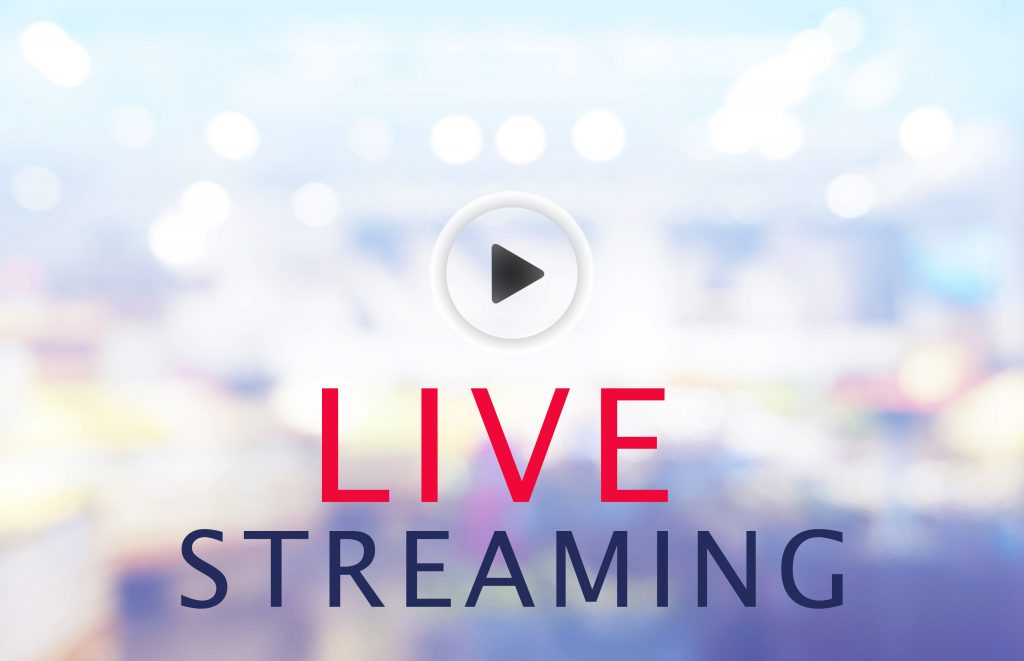 Bokeh blur background with a video play arrow. Text reads: LIVE STREAMING.