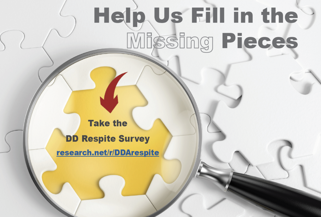 Magnifying glass held up to a puzzle with a missing piece. Text reads: Help us fill in the missing pieces. Take the respite survey at research.net/r/DDArespite