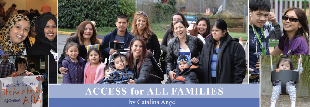 Images of families from different cultures. Text reads: Access for All Families by Catalina Angel