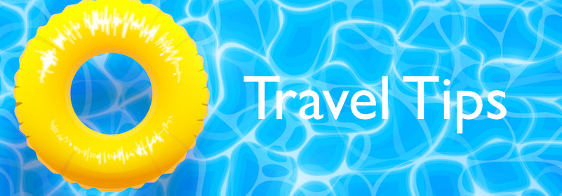 "Water pool summer background with yellow pool float ring. Blue aqua textured background. Text reads, ""Travel tips."""