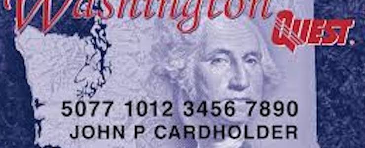A mock up of the Washington State Quest card with the name John P Cardholder.