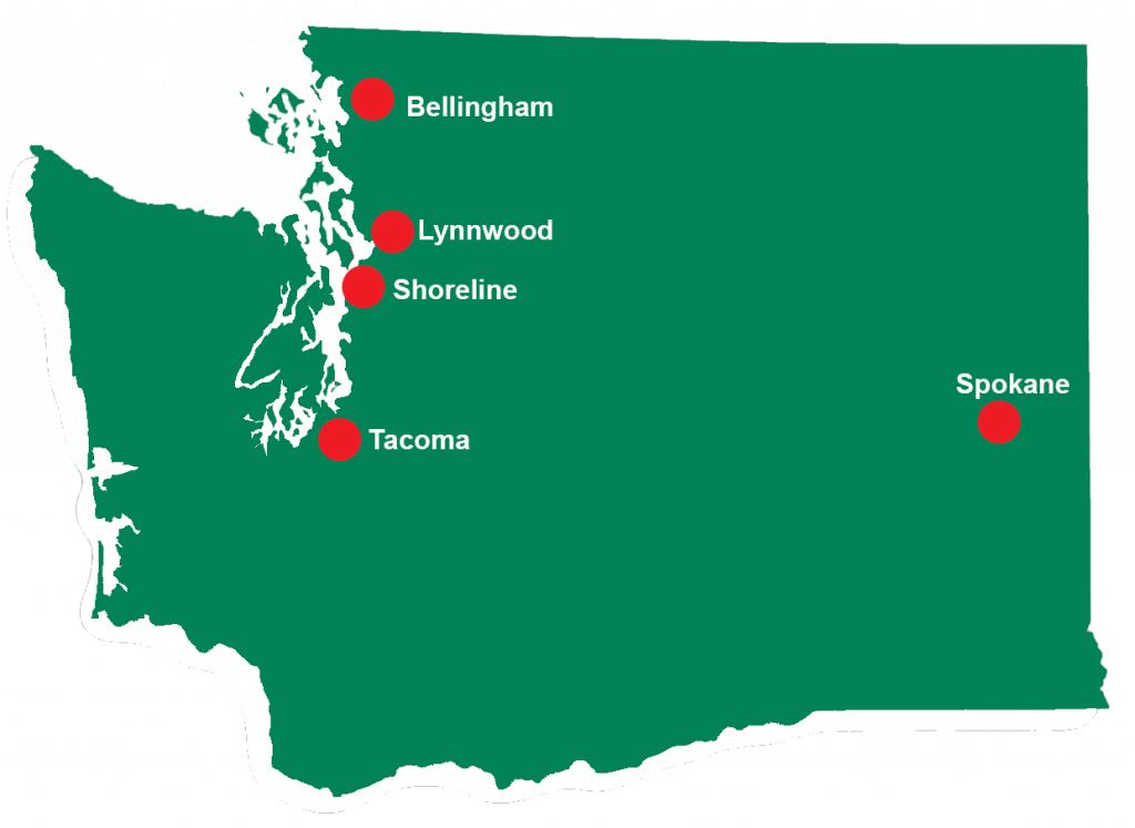 Washington State map with locator pins for locations of Overnight Planned Respite.