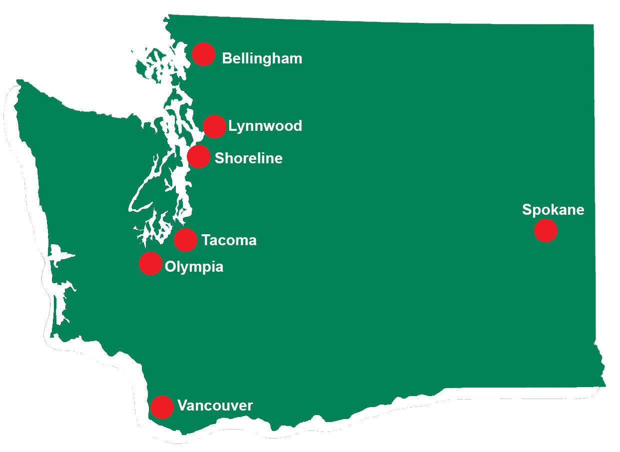 Map of Washington state with locator pins in each of the seven areas where overnight planned respite is provided.