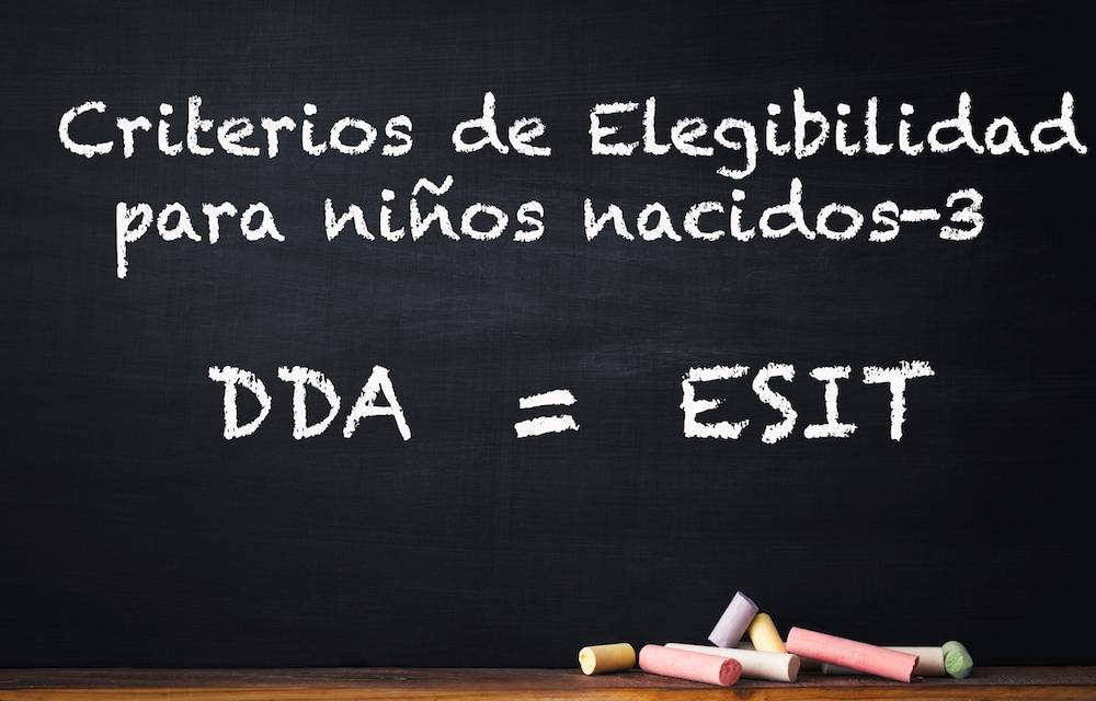 Blackboard with chalk writing in Spanish: Criterios de Elegibilidad para niños nacidos-3. DDA = ESIT.