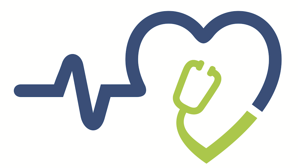 blue and green line graphic of a heartbeat, heart and stethoscope.