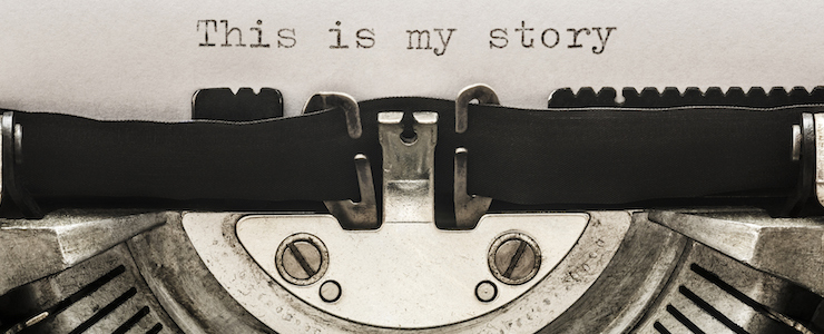 """This is my story"" typed on a vintage typewriter."