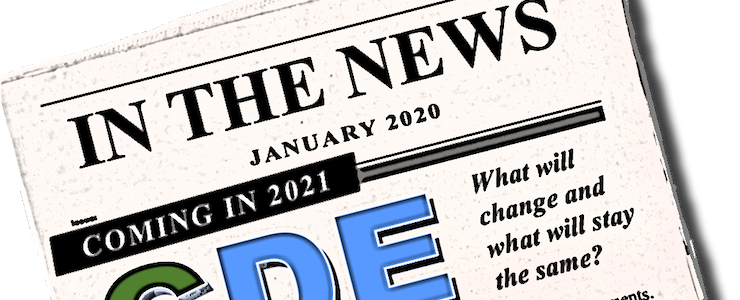 Graphic of a newspaper headline IN THE NEWS Coming in 2021 CDE Consumer Directed Employer.