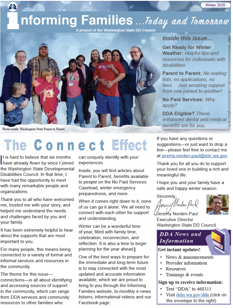 Thumbnail image of winter newsletter front page.