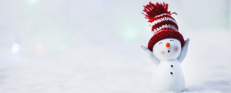 Happy snowman in red knit hat, snowy landscape.