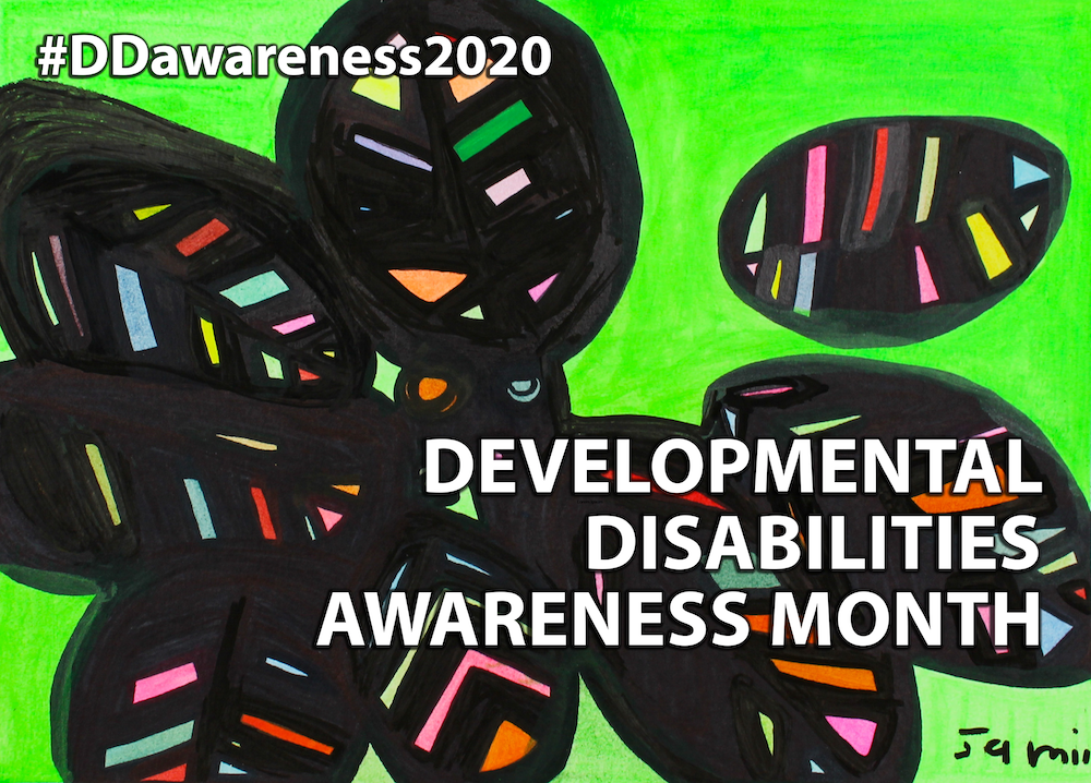 Orignal artwork celebrating National DD Awareness Month 2020. Created by Jamila Rahini. Abstract design with lime green background and multi-colored leaves outlined in black. Text reads Developmental Disabilities Awareness Month. #DDawareness2020.