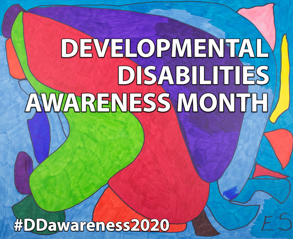 Orignal artwork celebrating National DD Awareness Month 2020. Created by Eileen Schofield. Abstract design with blues, purple, red and green. Text reads Developmental Disabilities Awareness Month. #DDawareness2020.