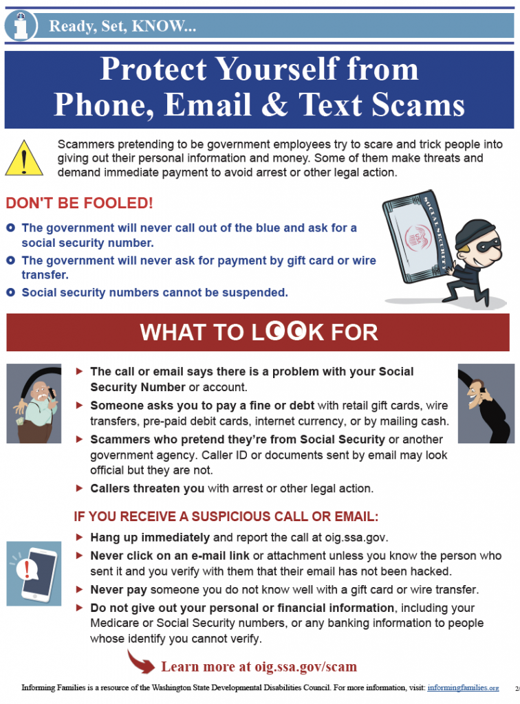 Thumbnail image of the Scams one page bulletin.
