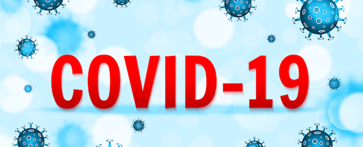 COVID-19 in red text. Background in blue with floating spiked coronavirus cells.